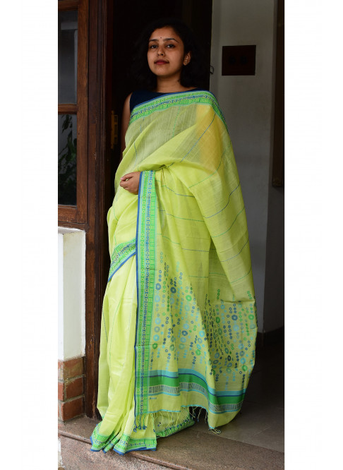 Yellowish Green, Handloom Organic Cotton Saree