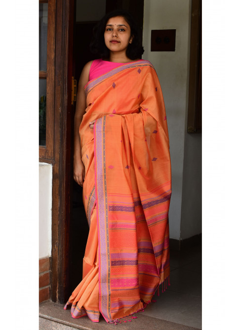 Orange, Handloom Organic Cotton Saree