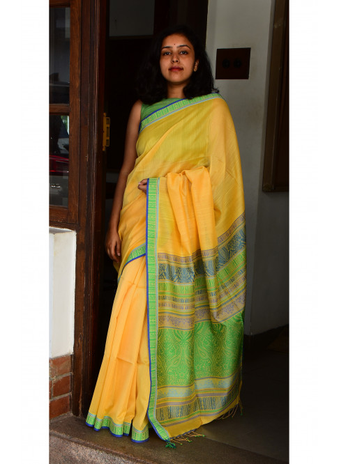 Yellow, Handloom Organic Cotton Saree