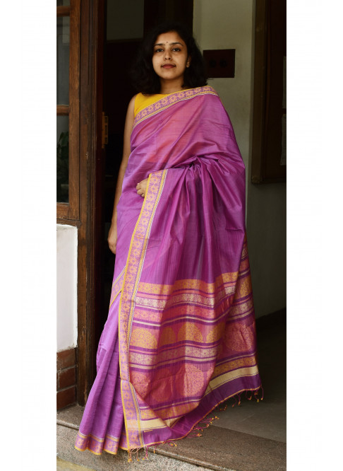 Pinkish Purple , Handloom Organic Cotton Saree
