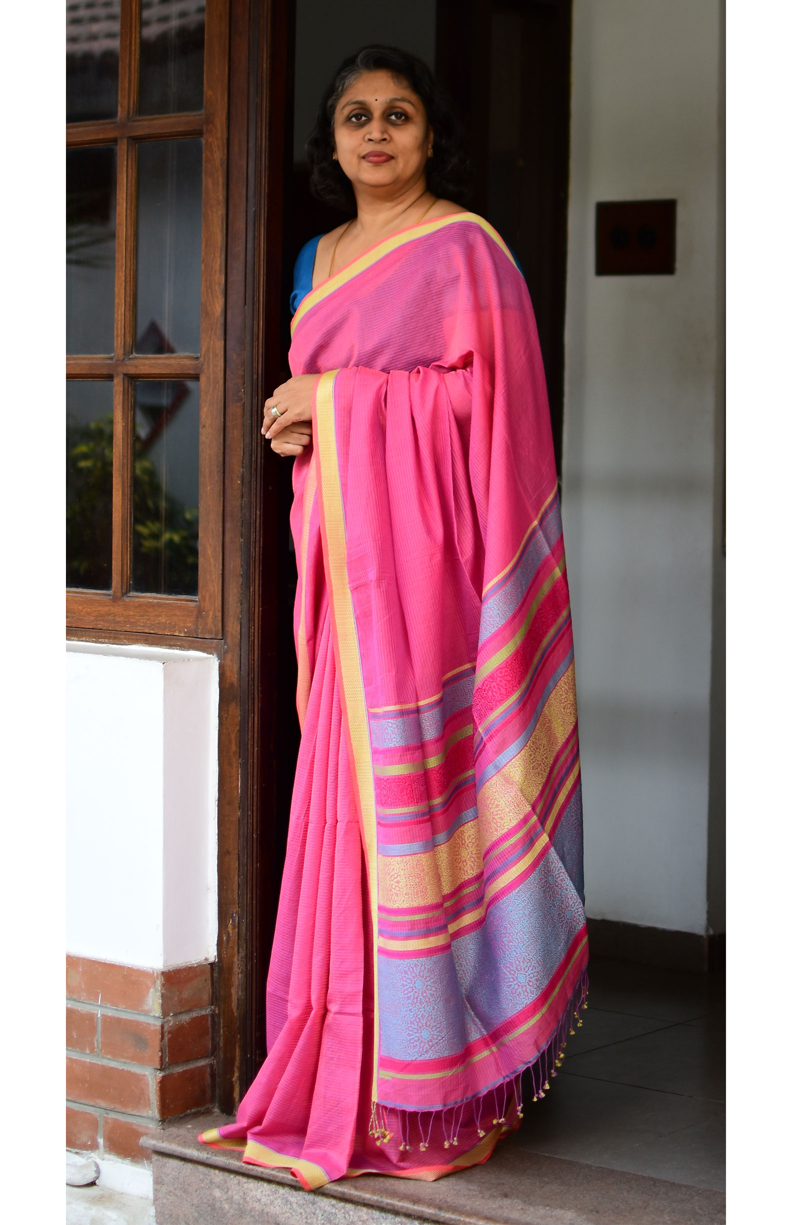 Pink, Handloom Organic Cotton Saree