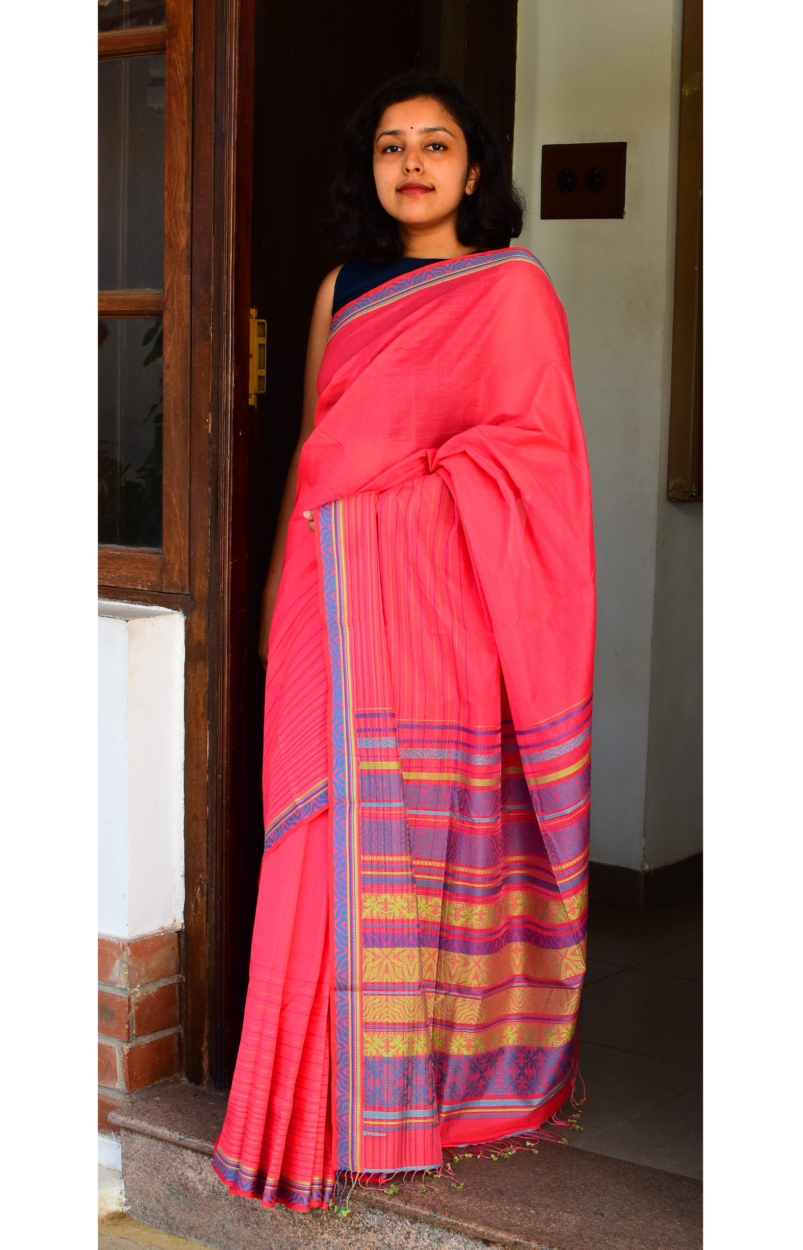 Reddish Pink, Handloom Organic Cotton Saree