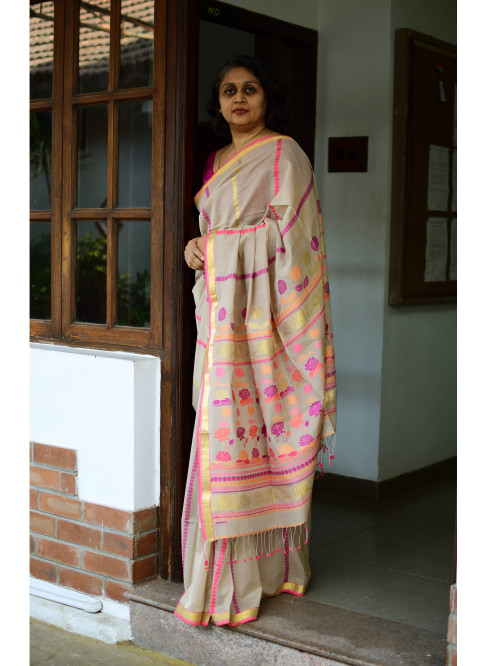 Beige, Handloom Organic Cotton Saree