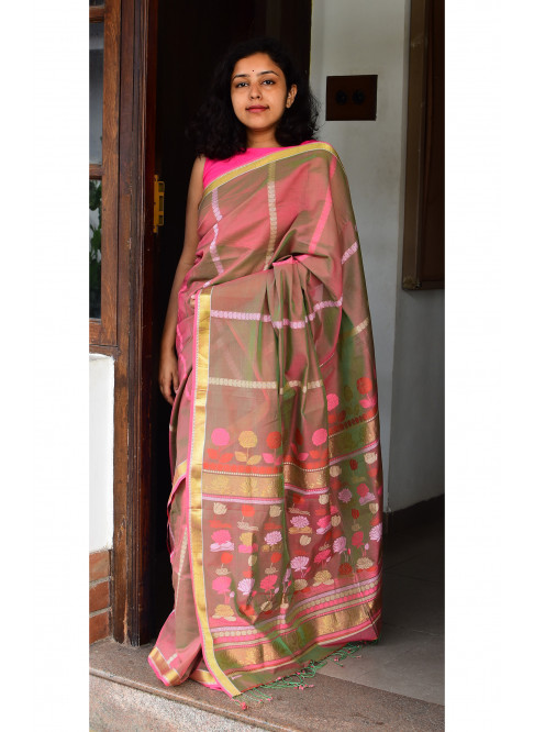 Greenish Pink, Handloom Organic Cotton Saree