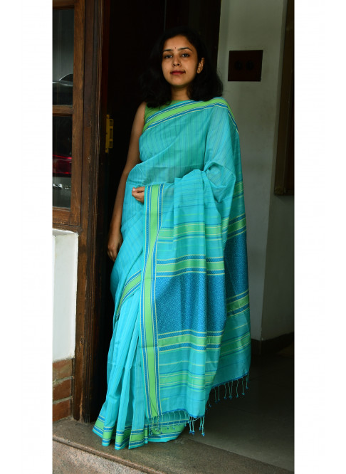 Light Blue, Handloom Organic Cotton Saree