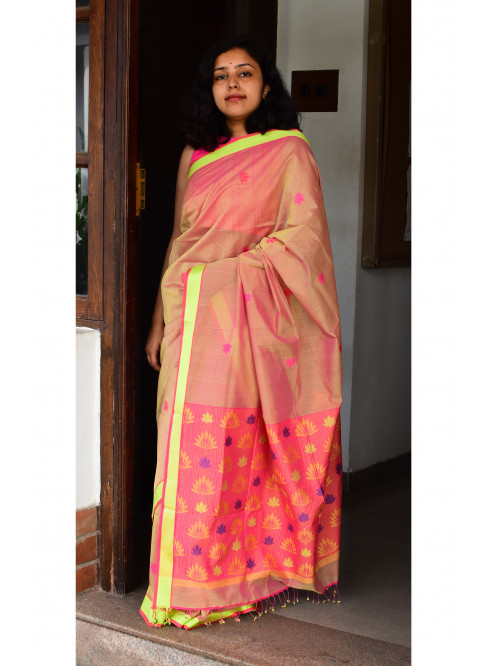 Pinkish Green, Handloom Organic Cotton Saree